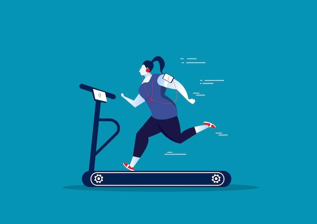 Mujer gorda ejercicio en cinta de correr estacionaria deporte.