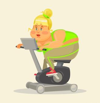 Mujer gorda en el gimnasio. mujer gorda en bicicleta estática