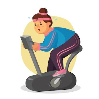 Mujer gorda en gimnasio