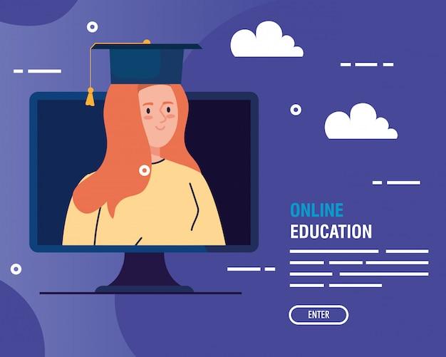 Mujer graduada en educación en línea por computadora
