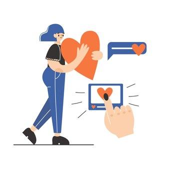 Una mujer con un gran corazón. como concepto. ilustración plana.