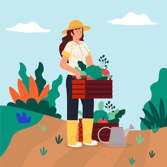 Mujer de granjero orgánico plano