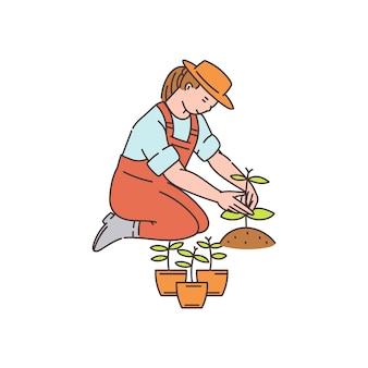 Mujer del granjero plantando plantas de macetas a tierra - personaje de dibujos animados, ilustración en estilo boceto sobre fondo blanco. jardinería y agricultura.