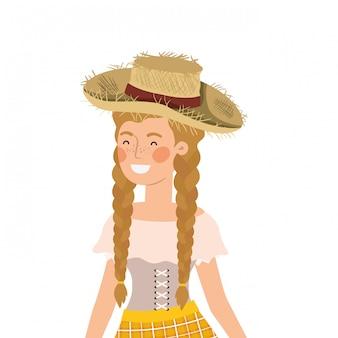Mujer del granjero con el sombrero de paja