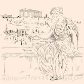 Una mujer griega antigua con una túnica sentada en un parapeto de piedra con el telón de fondo del paisaje de la ciudad de atenas y sostiene una joyería en la mano.