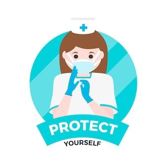 Mujer con guantes y máscara protectora