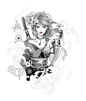 Mujer guerrera japonesa con katana en mano