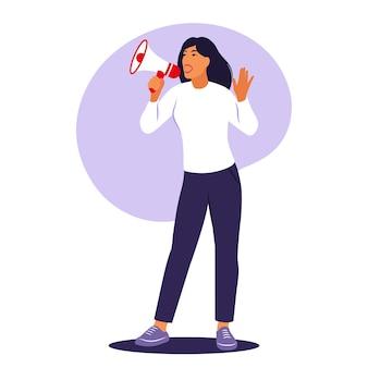 La mujer está hablando por un megáfono. anuncio, concepto de advertencia. ilustración vectorial. plano.