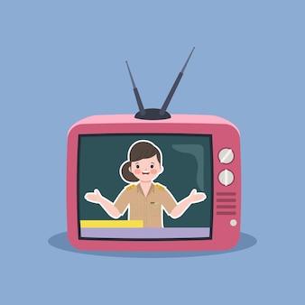 Mujer hablando en programa de televisión