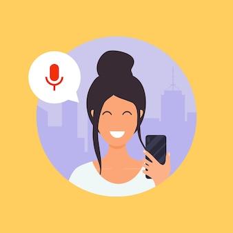 Mujer hablando por teléfono con el asistente de voz digital