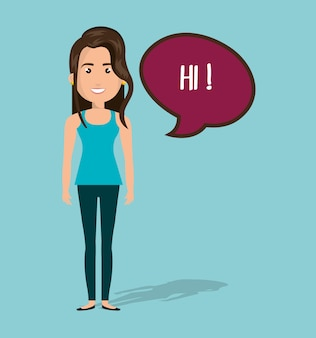 Mujer hablar chat burbuja aislado