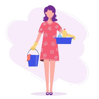 La mujer va a hacer la limpieza, en sus manos un balde y una palangana.