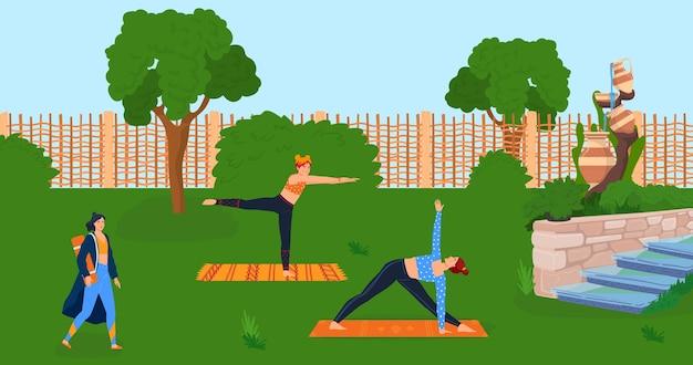Mujer hacer yoga en el grupo de la persona de la naturaleza en el estilo de vida del carácter de la gente femenina plana de la ilustración del vector del parque joven en el entrenamiento deportivo