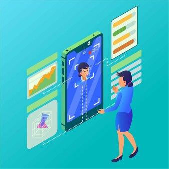 Una mujer está haciendo un análisis de personalidad con la ilustración isométrica del detector facial
