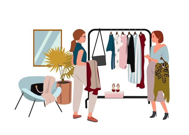 Mujer haciendo compras ilustración vectorial plana cliente de boutique feliz y vendedor amigable personajes de dibujos animados concepto de consumismo de venta de ropa comercio minorista de ropa de tienda de ropa
