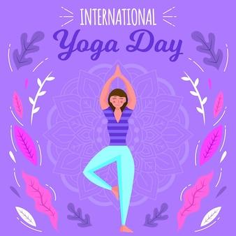 Mujer haciendo deporte día internacional del yoga
