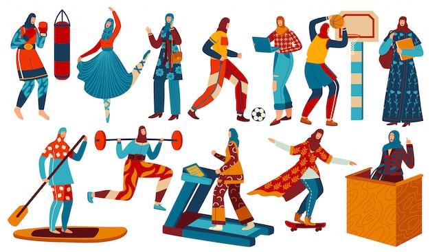 Mujer haciendo deporte, fitness, vistiendo hijab en el entrenamiento de gimnasio, igualdad de derechos en el mundo árabe conjunto de ilustraciones.