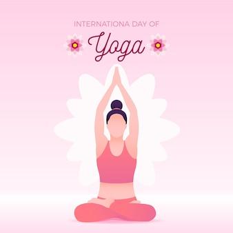 Mujer haciendo ejercicio día internacional del yoga