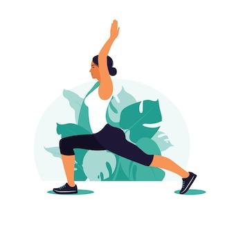 Mujer haciendo ejercicio en el parque. deportes al aire libre. concepto de fitness y estilo de vida saludable. ilustración de vector de estilo plano.