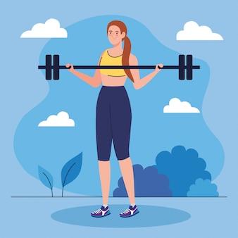 Mujer haciendo ejercicios con barra de peso al aire libre, ejercicio de recreación deportiva