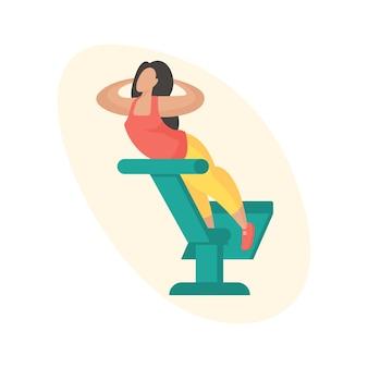 Mujer haciendo extensiones de espalda. equipos de exterior de hiperextensiones. personaje de dibujos animados femenino en ropa deportiva haciendo ejercicio deportivo. ilustración vectorial plana