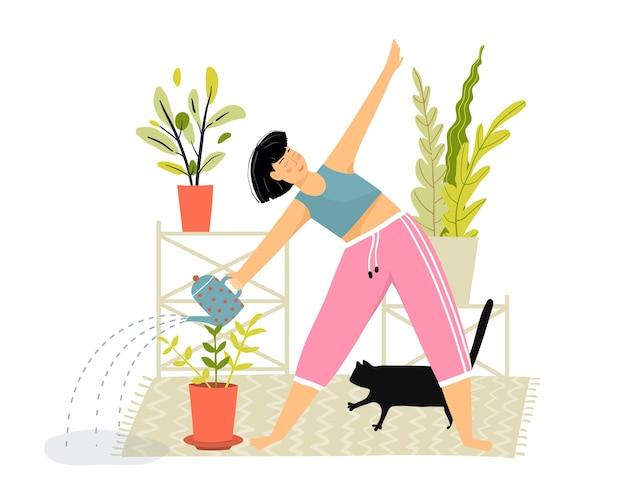 Mujer haciendo jardinería doméstica