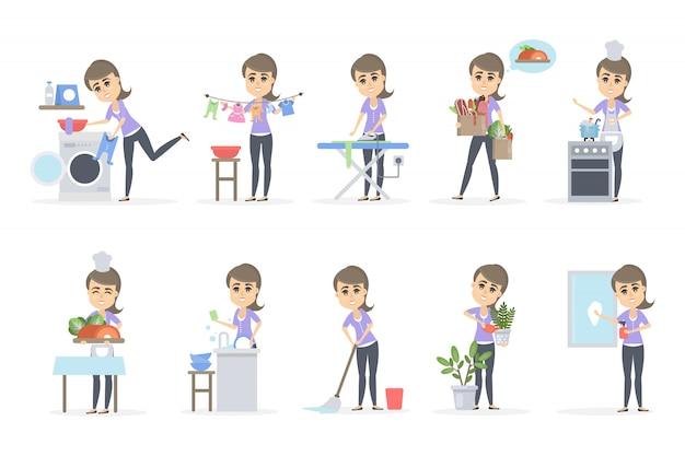 Mujer haciendo juego de hogar. lavado y limpieza.