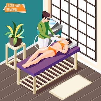 Mujer haciendo procedimiento de depilación láser en salón de belleza isométrica 3d