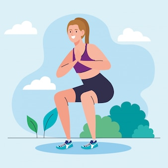 Mujer haciendo sentadillas al aire libre, ejercicio de recreación deportiva
