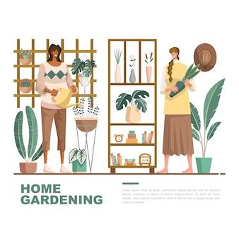 Mujer haciendo tratamiento a las plantas de jardinería doméstica