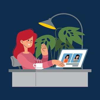Mujer haciendo una videollamada conferencia en línea entre pueblos ilustración