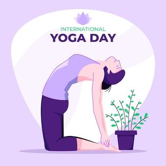 Mujer haciendo yoga en casa diseño plano