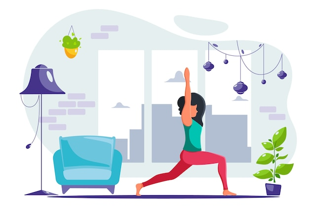 Mujer haciendo yoga en casa en un interior moderno. en un estilo plano