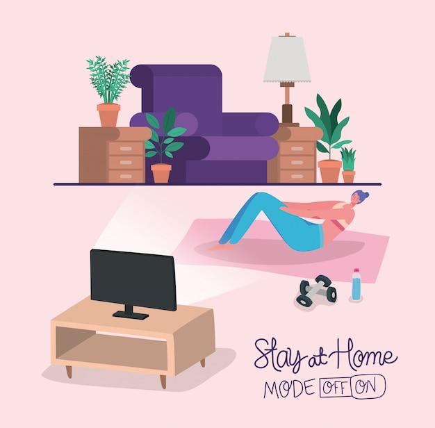 Mujer haciendo yoga en la colchoneta delante del diseño de la computadora de stay at home theme