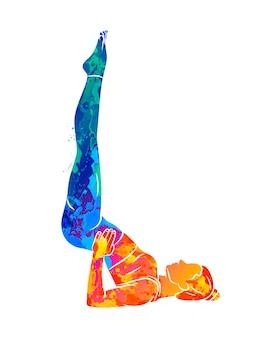 Mujer haciendo yoga en concepto de acuarela