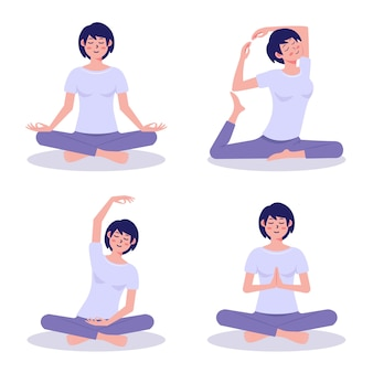 Mujer haciendo yoga diseño plano