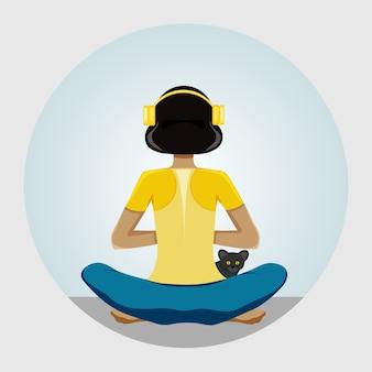 Mujer haciendo yoga, escuchando música, personaje femenino en auriculares inalámbricos en posición de loto. ilustración de vista trasera.