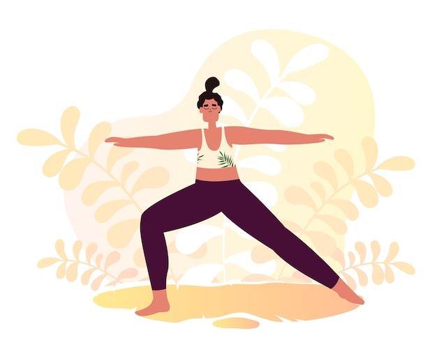 Mujer haciendo yoga y fitness en el parque en estilo plano