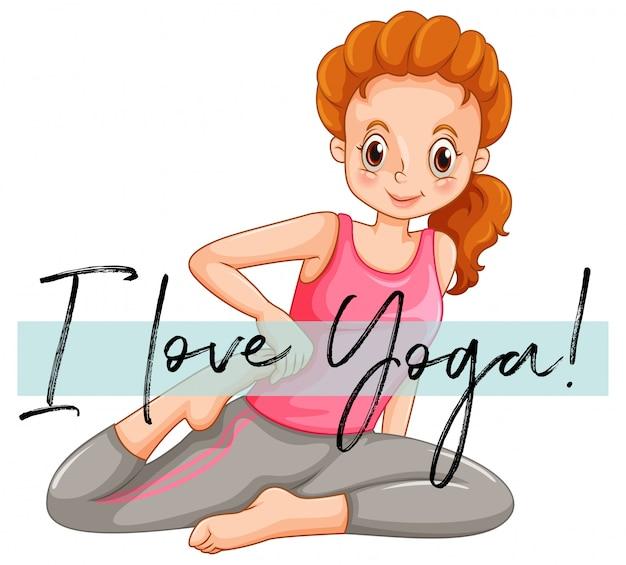 Mujer haciendo yoga con la frase me encanta el yoga