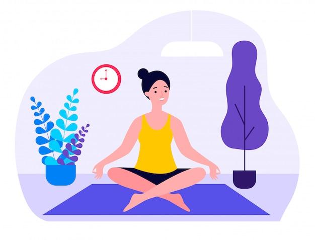 Mujer haciendo yoga matutino en casa ilustración