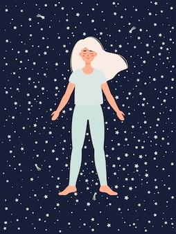 La mujer está haciendo yoga en pose de shavasana sobre fondo de cielo estrellado
