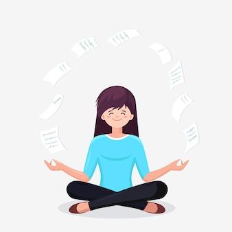 Mujer haciendo yoga en postura de loto padmasana con papel volador