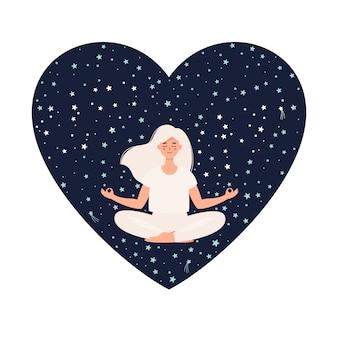 Mujer haciendo yoga en postura de loto sobre fondo de cielo estrellado en forma de corazón