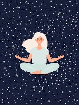 Mujer haciendo yoga en postura de loto sobre fondo de cielo estrellado.