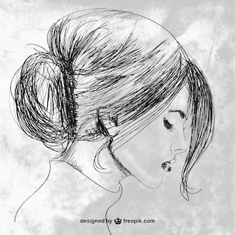 Mujer hermosa dibujada a mano