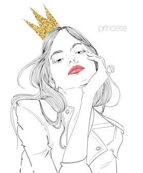 Mujer hermosa joven con corona