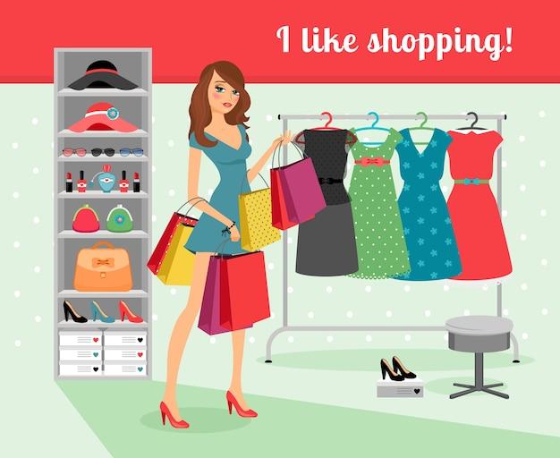 Mujer hermosa joven con paquetes en la mano de compras. ilustración vectorial