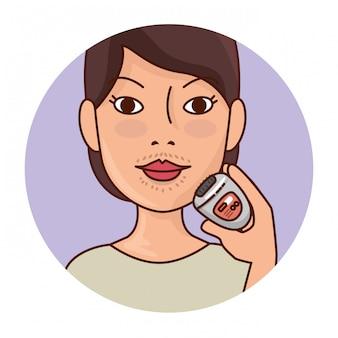 Mujer con herramienta de depilación