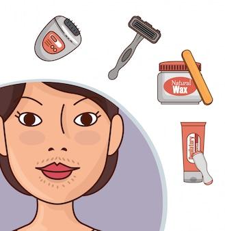 Mujer con herramientas de depilación