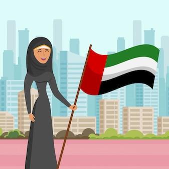 Mujer en hijab visita ciudad plana vector illustration